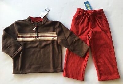 NWT Gymboree Alaskan Adventure 4 4T Red Fleece Pants & Brown Stripe Pullover Top