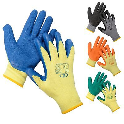 12 Pairs Of Builders Protective Gardening DIY Latex Rubber Coated Work Gloves
