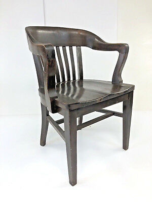 Vintage WOOD BANKER CHAIR Antique Office Industrial Wooden Arm Lawyer  Courthouse