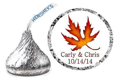 216 Fall Wedding Favors Hershey Kiss Kisses Labels ~ Maple Leaf
