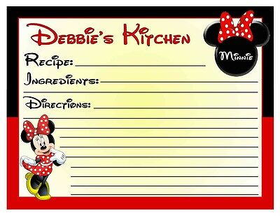 20 Minnie Mouse Kitchen Recipe Cards ~ Personalized