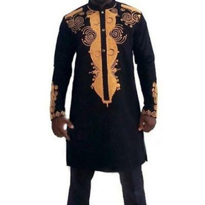 New African Clothing African Dashiki Traditional Maxi Man African Stand Collar L