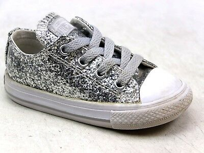 bc83054565b1 Kids Junior Converse All Star Low Glitter Silver Sk8 Pumps Shoes Trainers  Size 6
