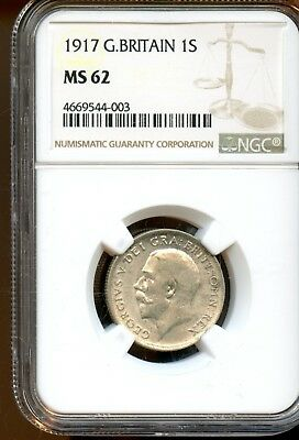 Wonderful 1917 NGC MS 62 Great Britain 1s One Shilling Coin XF209