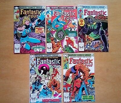 JOB LOT 5 x FANTASTIC FOUR #245,246,247,248,249 MARVEL COMICS 1982 ALL FINE COND