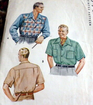 VTG 1940s MENS SHIRT McCALL Sewing Pattern SMALL CHEST 34-36