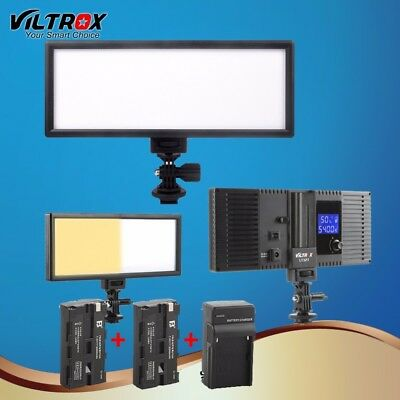 LED Studio Video Light Lamp Ultra Thin Bi-Color Dimmable DSLR +2 Battery+Charger