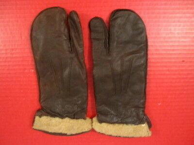 WWII Era US Navy Pilot Leather Flying Gloves or Mittens w/Trigger Finger - RARE