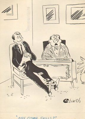 Employee Interview Tossing Cards in Hat - Humorama 1962 art by Larry Barth