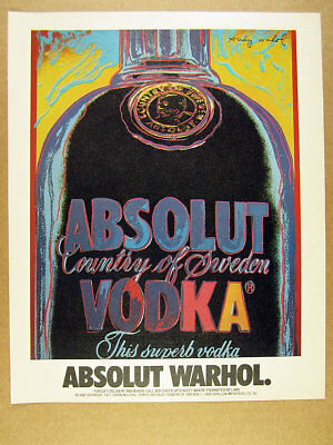 1986 Absolut WARHOL Andy Warhol vodka bottle drawing art vintage print Ad