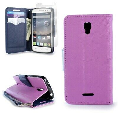 Purple / Navy Wallet For ALCATEL One Touch Pixi Charm Credit Card Case + Screen