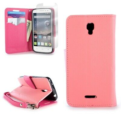 Light Pink / Hot Pink Wallet For ALCATEL One Touch Pixi Charm Credit Card Case
