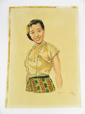 1957 Burmese Watercolour Of A Smiling Girl By Thein Han, One Of Twenty Listed