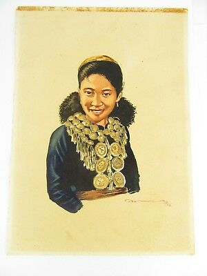 1958 Burmese Watercolour Of A Girl In A Necklace By Thein Han, 1 Of 20 Listed