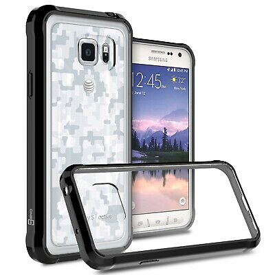 Black Hybrid TPU Bumper Hard Back Phone Cover Case for Samsung Galaxy S7 Active