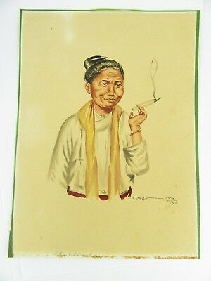 1958 Burmese Watercolour Of An Old Woman Smoking By Thein Han, 1 Of 20 Listed