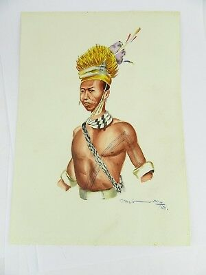 1958 Burmese Watercolour Of An Upper Chindwin Man By Thein Han, 1 Of 20 Listed