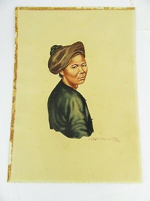 1958 Burmese Watercolour Of A Girl In Headdress By Thein Han, 1 Of 20 Listed