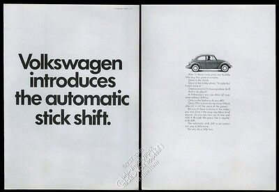 1968 VW Volkswagen Beetle classic car photo Automatic Stick Shift intro print ad
