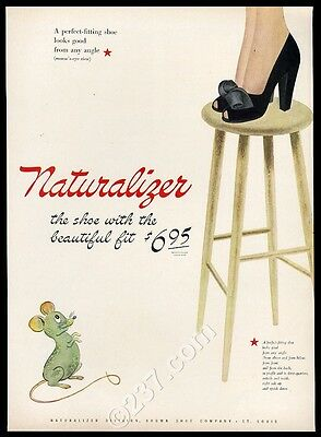 1944 CUTE mouse scaring woman art Naturalizer shoes vintage print ad