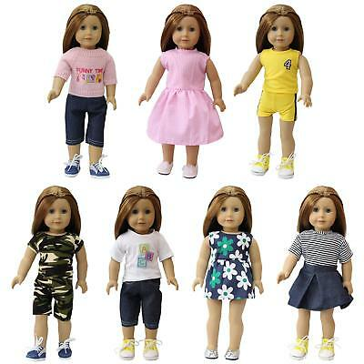 7pcs Handmade Clothes Dresses Outfits Sweater for Girl Doll Baby Dolls 14-18inch