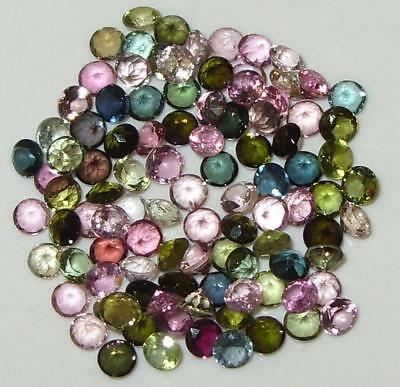 100 STONE LOT OF 2.5mm ASSORTED COLOR BRAZIL TOURMALINE ROUNDS 6.55ct SPECIAL