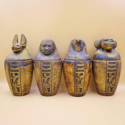 Antique Set of 4 Egyptian Ancient Canopic Jars Organs Storage Statues XXX-LARGE