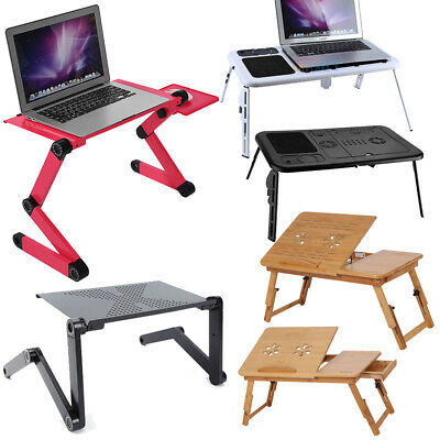 360°Adjustable Folding Laptop Notebook Desk+Cooling Fan Table Stand Bed Tray US