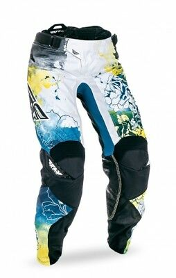 Fly Racing Kinetic 2017 Womens MX/Offroad Pants Teal Blue/Yellow/White