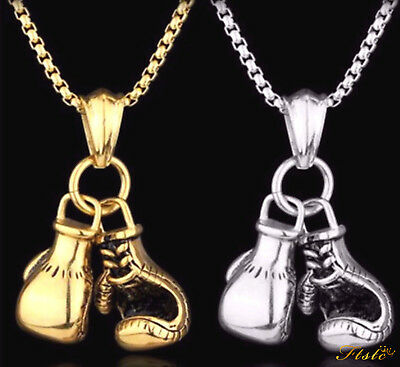 Mens Belcher Chain Gold or Silver Plated Boxing Gloves Boys Necklace Pendant