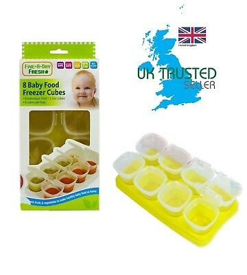 Baby Toddler Food Cube Freezing Tray Pots Storage Containers 8 Boxes