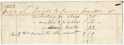 1844 Making Shoes & Mending Boots Receipt - American Shoemaker