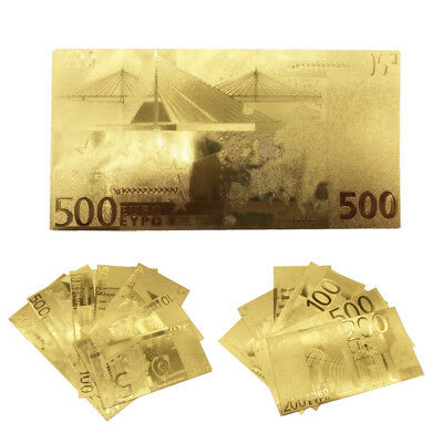 1 Set Euro Plastic Banknote Gold Foil Paper Money Craft Collection Commemorative