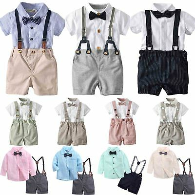 Toddler Baby Kids Boy Gentleman Outfits T-shirt Top + Bib Pants 2PCS Clothes Set