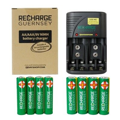 RG Battery Charger with 4x AA and 4x AAA Rechargeable Batteries EXTRA VALUE KIT