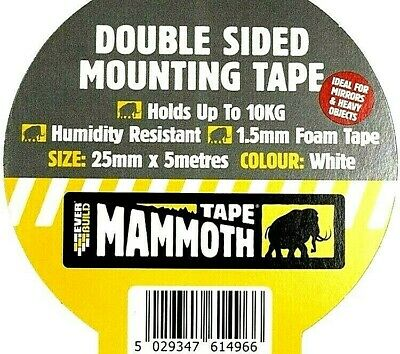 5m x 25mm Double Sided Mounting Tape Heavy Duty Strong Adhesive Mirror fix stick