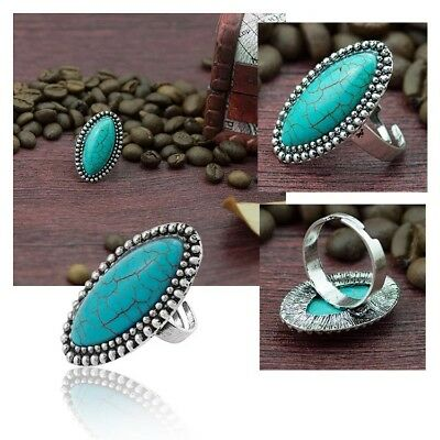 Fashion Vintage Turquoise Tibetan Silver Ring Jewelry Open Adjustable Ring SS03