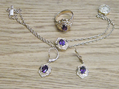 14K Richard Glatter RGVS 3pc Amethyst Set Ring, Earrings, Slide Charm Bracelet
