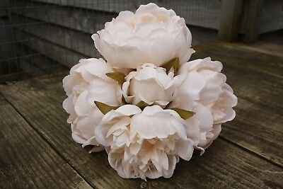 5 x VERY PALE PEACH SILK PEONY FLOWERS & BUDS TIED BUNCH / SMALL BOUQUET