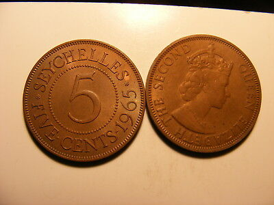 Seychelles 1965 5 Cents, Light Brown Uncirculated, KM#16, Mintage Just 40,000 !!