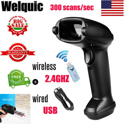 Portable 2.4GHz Wireless + USB Wired Laser Barcode Scanner Data Reader Handheld