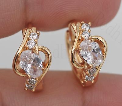 18K Gold Filled - Elegant Swirl Hollow Topaz Zircon Wedding Gemstone Earrings