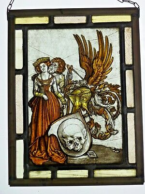 "Leaded Glass Window Image Antique Stained Glass "" Emblem M. Skull "" a. D. Motif"