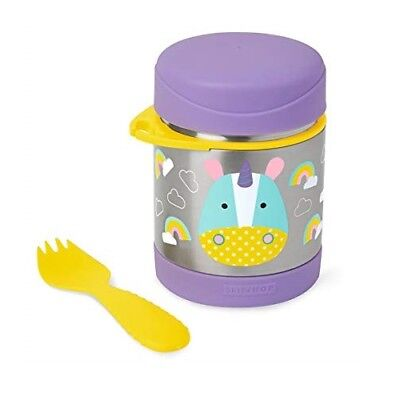 Skip Hop Baby Zoo Little Kid & Toddler Insulated Food Jar & Spork Set, Unicorn