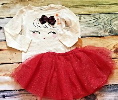 Gymboree Holiday Shop 3T 5T Set Girl Plaid Bow Top Red Tulle Tutu Skirt NWT