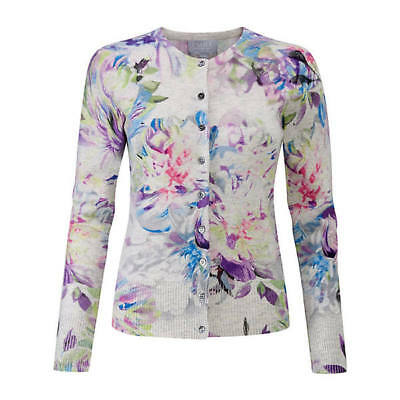 luxury 100% CASHMERE supersoft digital floral CARDIGAN by PURE UK16 US12 bnwt