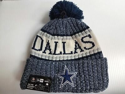 5e80f56f0 YOUTH Dallas Cowboys New Era Knit Hat On Field 2018 Sideline Beanie Cap