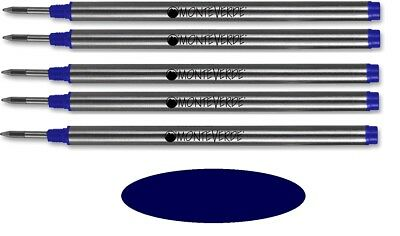 5 Monteverde Rollerball Refills For Montblanc Pens, DARK BLUE Fine Point, New