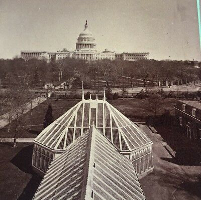 1800's Antique Stereoview Card Photo BOTANICAL AND CAPITOL WASHINGTON CITY (DC)
