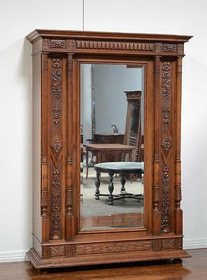 Antique French Carved Renaissance Single Door Armoire Wardrobe